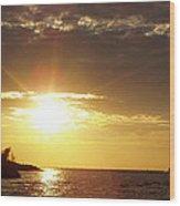 Winter Sunset Over Long Island Wood Print