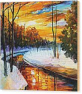Winter Sunset - Palette Knife Oil Painting On Canvas By Leonid Afremov Wood Print
