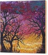 Winter Sunset Silhouette Wood Print