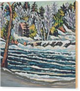 Winter Thaw Gatineau River Wood Print by Patricia Eyre