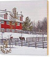 Winter Thoroughbreds Wood Print