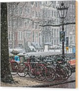Winter Time In Amsterdam Wood Print