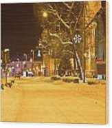 Winter Time Street Scene In Krizevci Wood Print