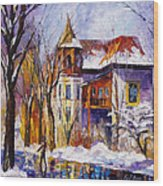 Winter Town - Palette Knife Oil Painting On Canvas By Leonid Afremov Wood Print