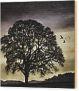 Winter Tree And Ravens Wood Print