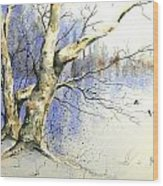 Winter Tree With Birds Wood Print
