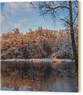Winter Trees Lake Reflected Wood Print