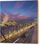 Winter Twilight Across Alexandra Bridge Wood Print