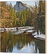 Winter View Of Half Dome In Yosemite National Park. Wood Print by Jamie Pham