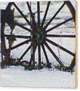 Winter Wagon Wheel Wood Print