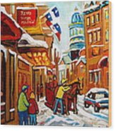 Winter Walk Montreal Wood Print