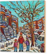 Winter Walk Montreal Paintings Snowy Day In Verdun Montreal Art Carole Spandau Wood Print