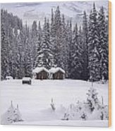 Forest Snow Blanketed Privies - Winter In Banff, Alberta Wood Print