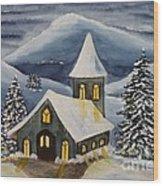 Winter Watercolor Wood Print