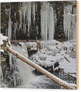Winter Waterfall Wood Print