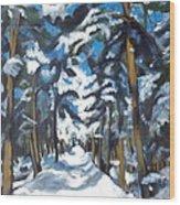 Winter Way Wood Print