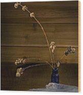 Winter Weeds In Blue Bottle Wood Print