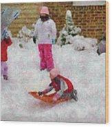 Winter - Winter Is Fun Wood Print by Mike Savad