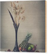 Winter With Fruits Wood Print