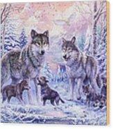 Winter Wolf Family  Wood Print