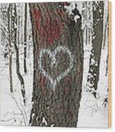 Winter Woods Romance Wood Print