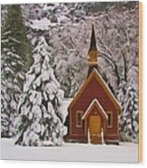 Winter Yosemite Chapel Wood Print