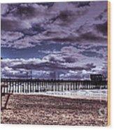 Winters Beach Solitude Wood Print