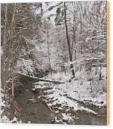 Winter's Country Stream Wood Print
