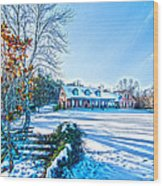 Winters Day Photo Art From The Fence Wood Print
