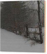 Winter's Fence Wood Print