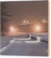 Winter's Night Stroll Wood Print