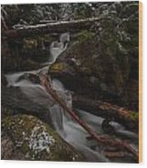 Winters Stream Flow Wood Print