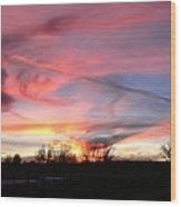 Winters' Sunset Rainbow Wood Print