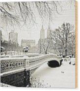 Winter's Touch - Bow Bridge - Central Park - New York City Wood Print