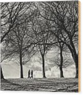Winters Walk Wood Print