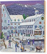 Wintertime At Waterville Valley New Hampshire Wood Print by Nancy Griswold