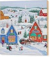 Wintertime In Sugarcreek Wood Print