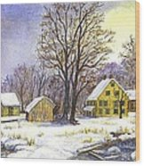 Wintertime In The Country Wood Print
