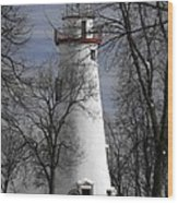 Wintry Lighthouse Wood Print