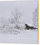 Wintry Landscape Wood Print by Conny Sjostrom