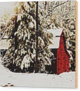 Wintry Red Barn Wood Print