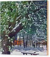 Wintry  Snowy Trees Wood Print