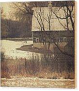 Wisconsin Barn In Winter Wood Print