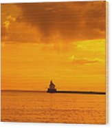 Wisconsin Point Lighthouse Sunrise 1 A Wood Print