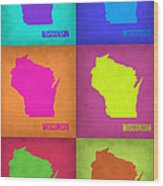 Wisconsin Pop Art Map 2 Wood Print
