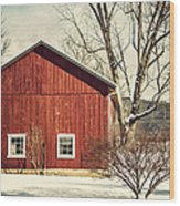 Wise Old Barn Winter Time Wood Print
