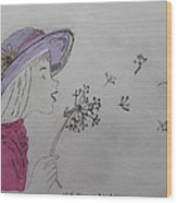 Wish Upon A Dandelion In Colour Wood Print