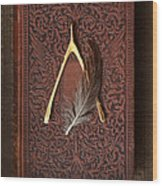 Wishbone And Feather On Antique Book Wood Print