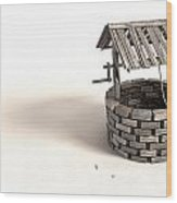Wishing Well With Wooden Bucket And Rope Wood Print