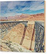 Wispy Clouds Over Navajo Bridge North Rim Grand Canyon Colorado River Wood Print
